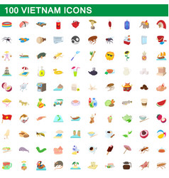 100 vietnam icons set cartoon style vector image