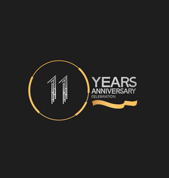 11 years anniversary logotype style with silver vector