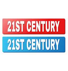 21st century text on blue and red rectangle vector