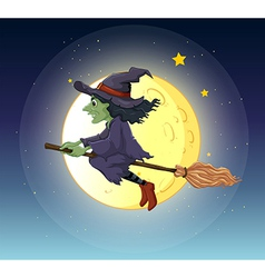 A witch riding with her broomstick vector image