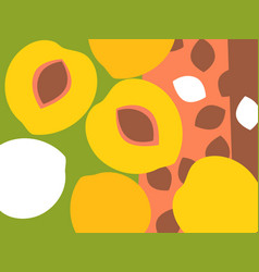 abstract peaches design in flat cut out style vector image