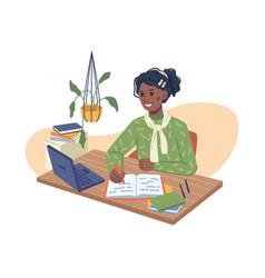 Afro american girl doing homework computer laptop vector
