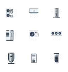 Air cooling equipment color flat icons set vector image