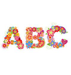 Alphabet with flowers abc vector