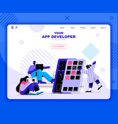 app development landing page template vector image