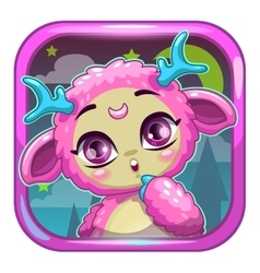 App icon with cute pink fluffy monster vector