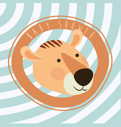 Baby shower card with cute tiger vector