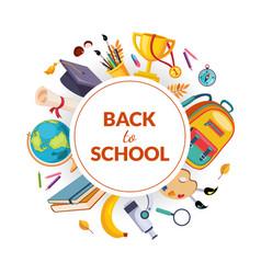 back to school banner template school supplies vector image
