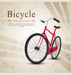 bicycle red on vintage background vector image