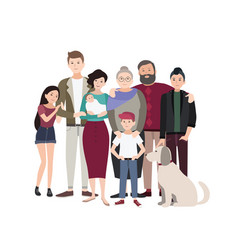 Big family portrait happy people with relatives vector