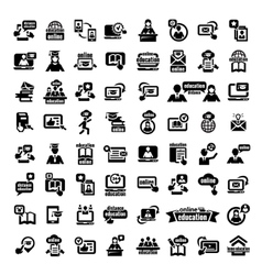 Big online education icons set vector