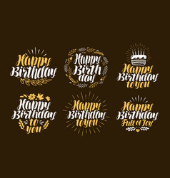 birthday label set holiday birth day logo or vector image