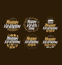 Birthday label set holiday birth day logo vector