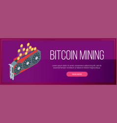 bitcoin mining banner vector image