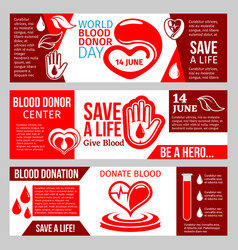Blood donor center banner for health charity vector