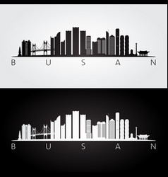 busan skyline and landmarks silhouette vector image