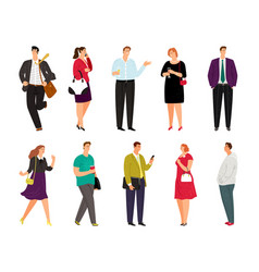 Cartoon casual people on white vector