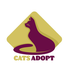 Cats adoption isolated icon animal shelter care vector