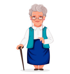 cheerful grandmother stands with walking cane vector image