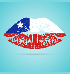 chile flag lipstick on the lips isolated on a vector image