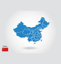 china map design with 3d style blue china map and vector image
