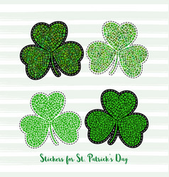 clover stickers for st patricks day vector image