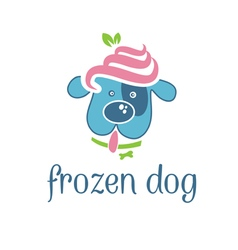 concept dog with frozen yogurt on head vector image