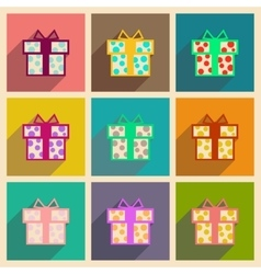 Concept of flat icons with long shadow gift box vector