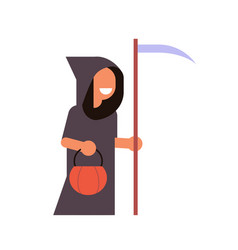 cute boy wear grim reaper scarecrow costume happy vector image