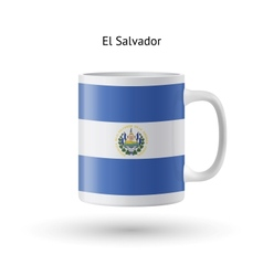 El Salvador flag souvenir mug on white background vector