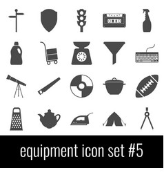 equipment icon set 5 gray icons on white vector image