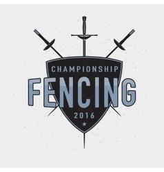 Fencing championship badge vector