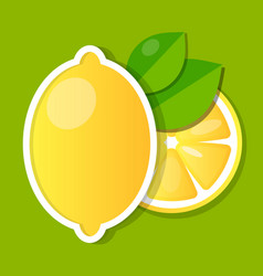 fresh lemon fruit slice and whole with leaves vector image