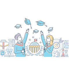 Graduating students - colorful line design style vector