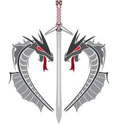 gray dragons and sword stencil vector image