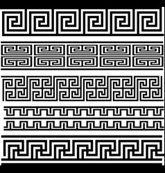 Greek key seamless pattern collection vector