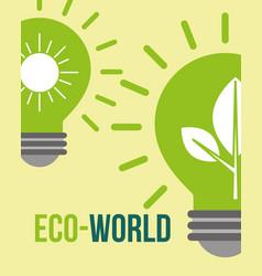 green bulbs light eco world alternative vector image