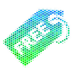 Halftone blue-green free tag icon vector