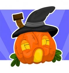 Halloween house-pumpkin vector