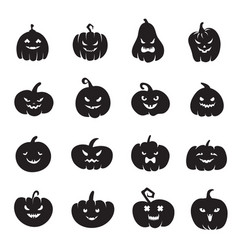 Halloween pumpkin faces scary pumpkins bloody vector