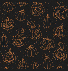 halloween seamless pattern with smiling pumpkins vector image