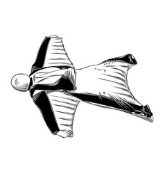 hand drawn sketch wingsuit in black isolated on vector image