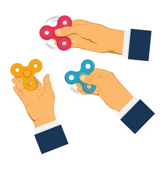 hands holding gray fidget spinner vector image