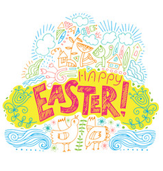 Happy easter colored fun backgroun vector