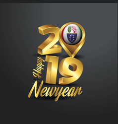 Happy new year 2019 golden typography with bosnia vector