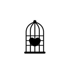 Hearth in bird cage vector
