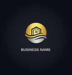 Home eco realty gold logo vector