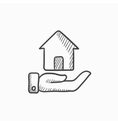 House insurance sketch icon vector image