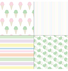 ice cream shells and stripes pastel patterns vector image