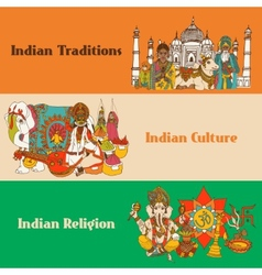 India sketch banners set vector image